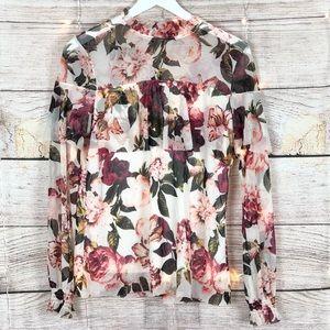 Worthington   Floral Mock Neck Blouse